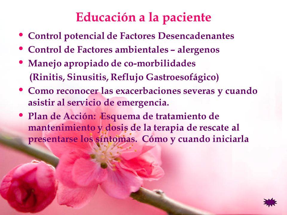 Educación a la paciente Control potencial de Factores Desencadenantes Control de Factores ambientales – alergenos Manejo apropiado de co-morbilidades
