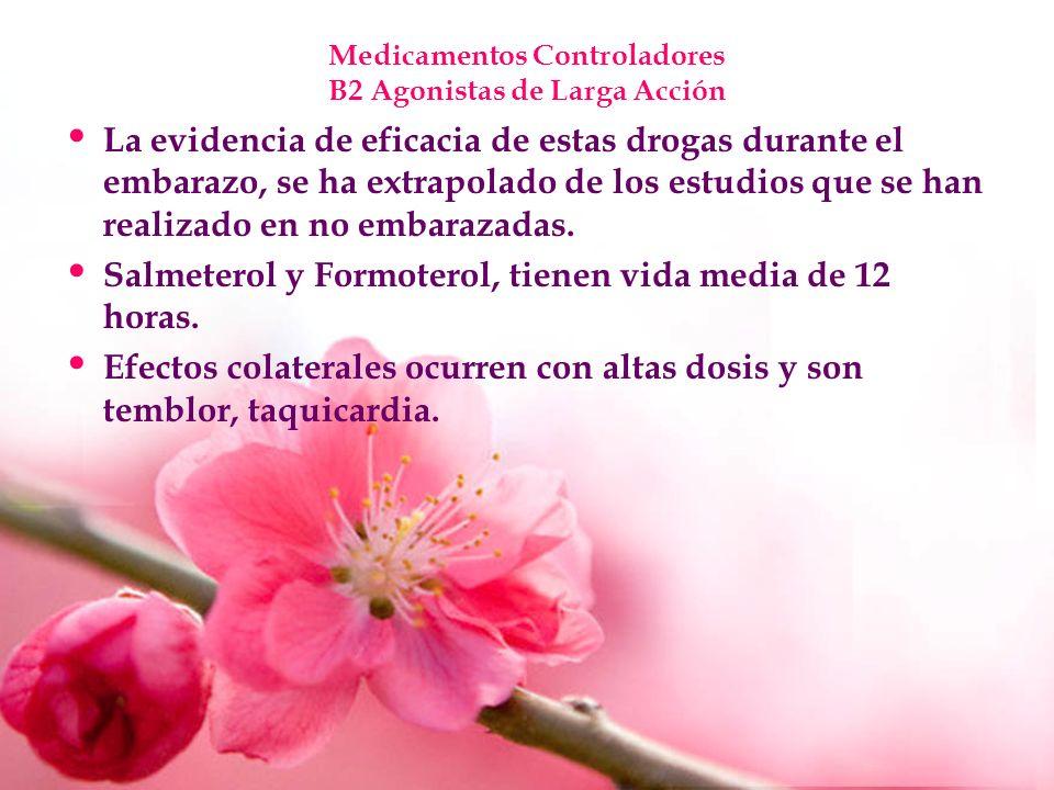 Medicamentos Controladores B2 Agonistas de Larga Acción La evidencia de eficacia de estas drogas durante el embarazo, se ha extrapolado de los estudio