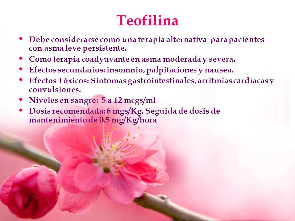 Teofilina Debe considerarse como una terapia alternativa para pacientes con asma leve persistente. Como terapia coadyuvante en asma moderada y severa.