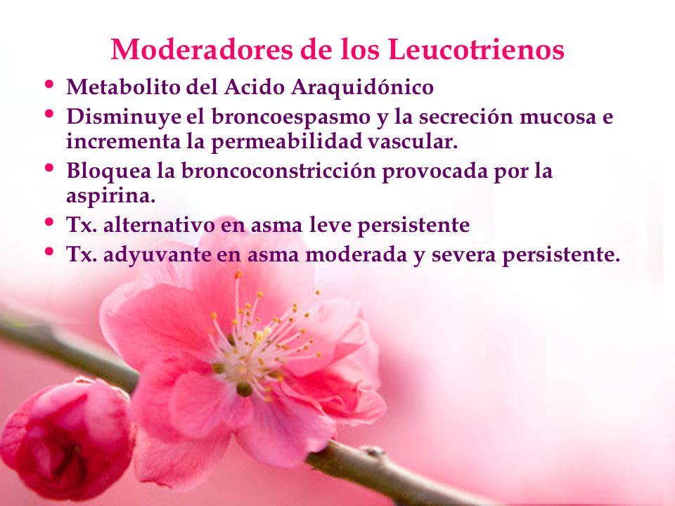 Moderadores de los Leucotrienos Metabolito del Acido Araquidónico Disminuye el broncoespasmo y la secreción mucosa e incrementa la permeabilidad vascu