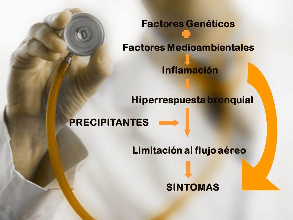 Factores Medioambientales Inflamación Hiperrespuesta bronquial Limitación al flujo aéreo SINTOMAS PRECIPITANTES Factores Genéticos Factores Medioambie