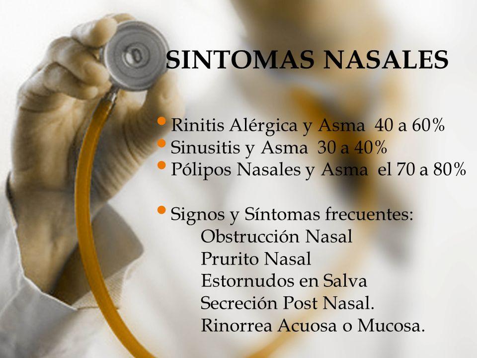 RASGOS CLINICOS DE LA ASOCIACIÓN ASMA/RINITIS Tipo de AsmaTipo de RinitisSíntoma Principal Asma asociada a Atopía Rinitis AlérgicaPrurito Nasal Asma no asociada a Atopía Rinitis con o sin eosinofilia Obstrucción Nasal Asma asociada a Intolerancia a ASA Rinitis asociada a Poliposis Nasal Obstrucción nasal y anosmia