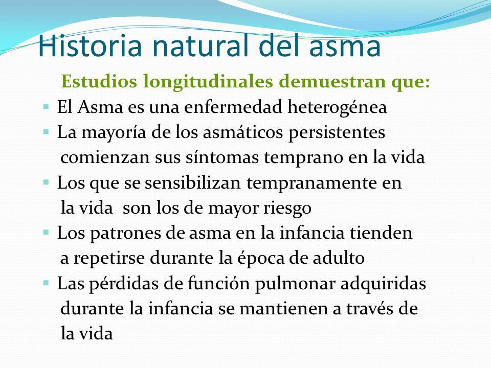 Historia natural del asma Estudios longitudinales demuestran que: El Asma es una enfermedad heterogénea La mayoría de los asmáticos persistentes comie