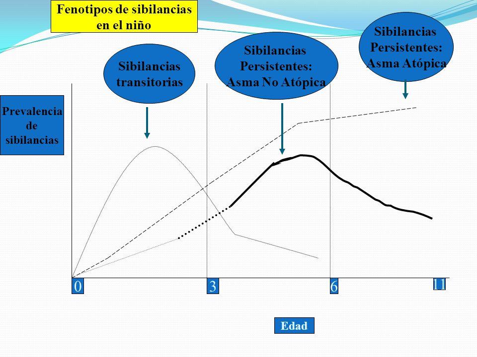 Sibilancias transitorias Sibilancias Persistentes: Asma No Atópica Sibilancias Persistentes: Asma Atópica 036 11 Fenotipos de sibilancias en el niño P