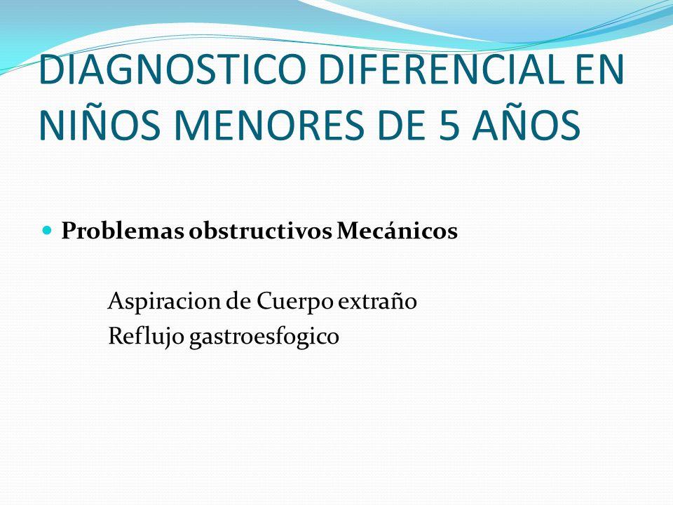 DIAGNOSTICO DIFERENCIAL EN NIÑOS MENORES DE 5 AÑOS Problemas obstructivos Mecánicos Aspiracion de Cuerpo extraño Reflujo gastroesfogico
