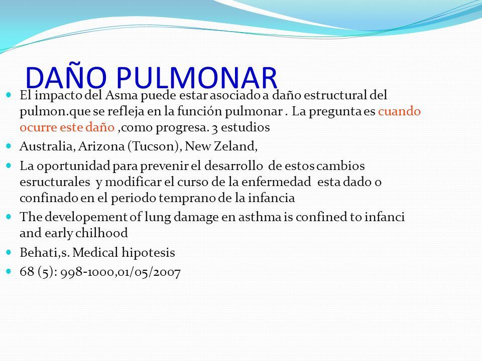 DAÑO PULMONAR El impacto del Asma puede estar asociado a daño estructural del pulmon.que se refleja en la función pulmonar. La pregunta es cuando ocur