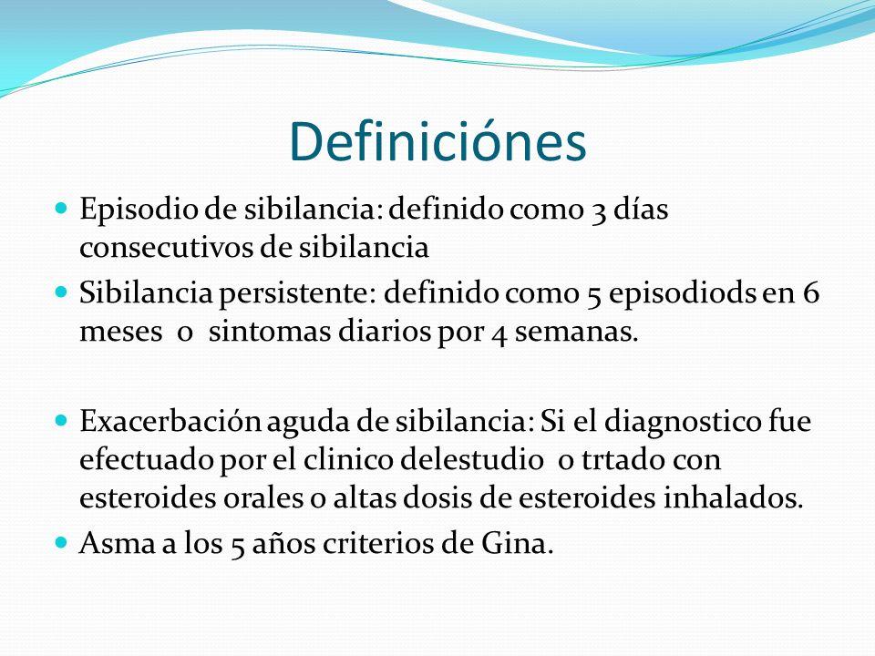 Definiciónes Episodio de sibilancia: definido como 3 días consecutivos de sibilancia Sibilancia persistente: definido como 5 episodiods en 6 meses o s