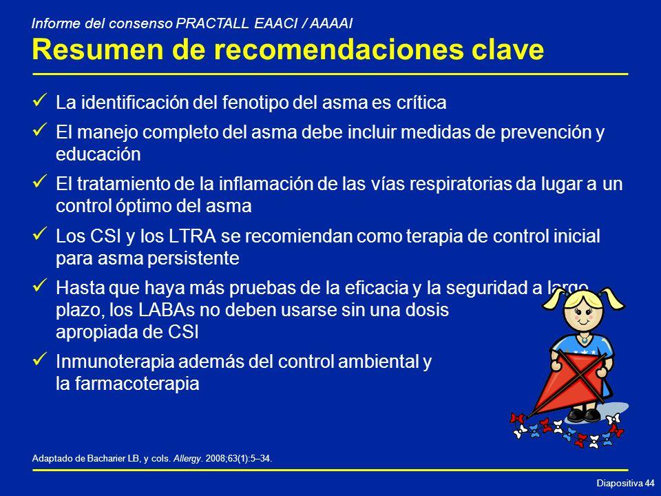 Diapositiva 44 Resumen de recomendaciones clave La identificación del fenotipo del asma es crítica El manejo completo del asma debe incluir medidas de