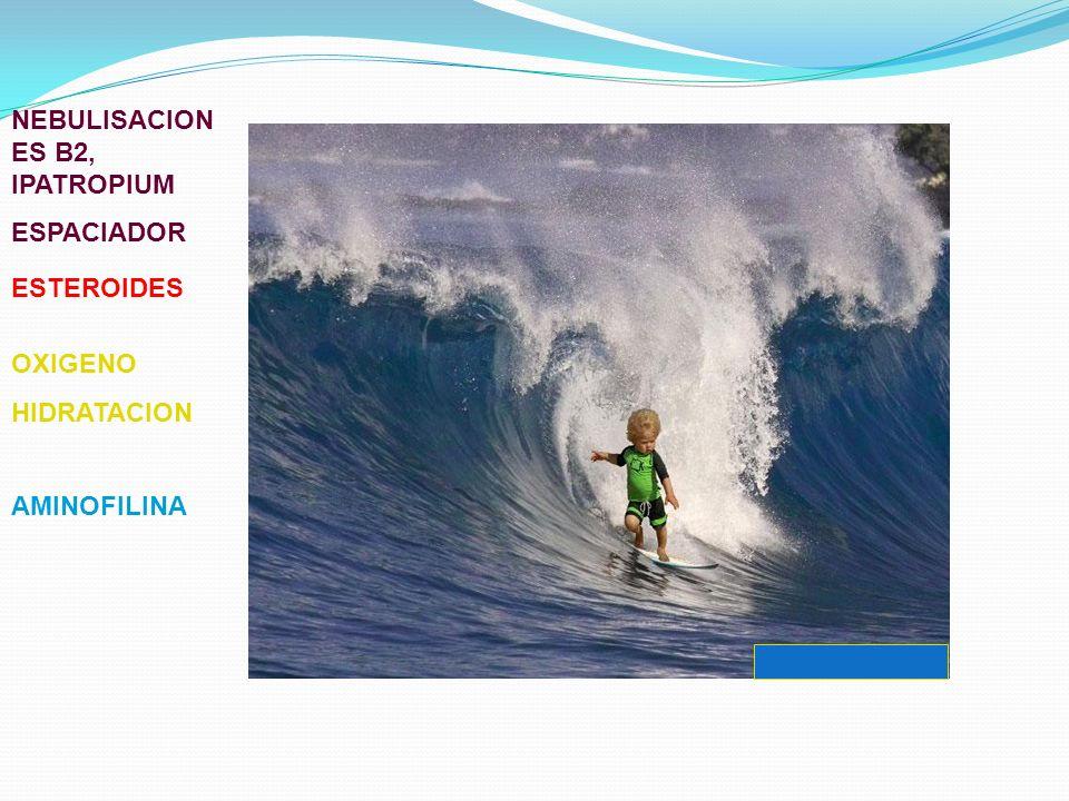 NEBULISACION ES B2, IPATROPIUM ESPACIADOR ESTEROIDES OXIGENO HIDRATACION AMINOFILINA