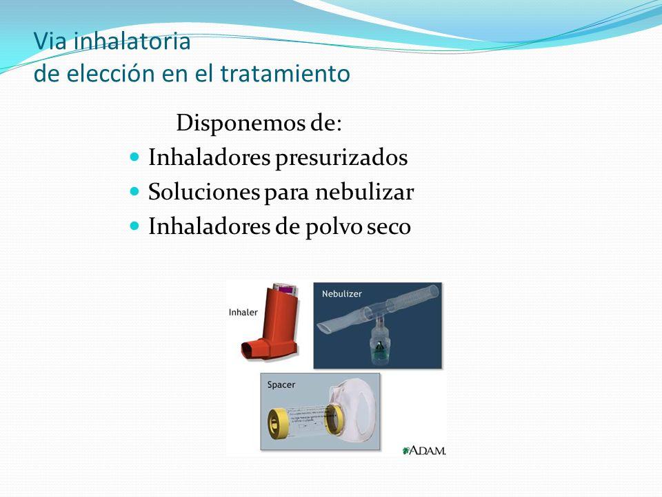 Via inhalatoria de elección en el tratamiento Disponemos de: Inhaladores presurizados Soluciones para nebulizar Inhaladores de polvo seco