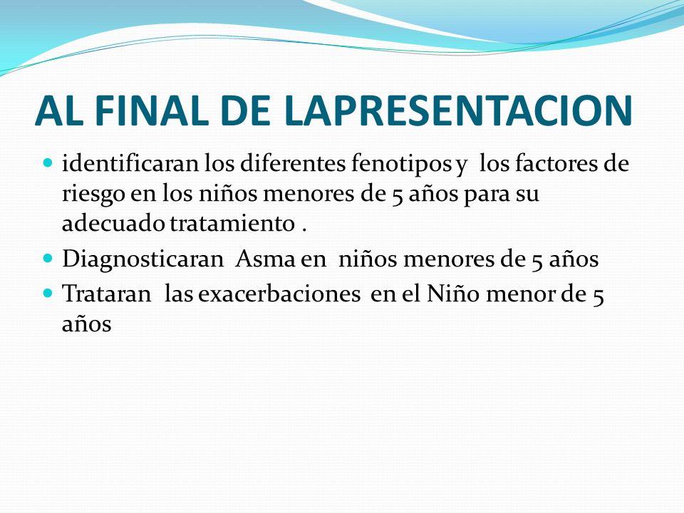 INDICE PREDICTOR DE ASMA Castro-Rodriguez J.A.AJRCCM 2000;162:1403-1406 Sibilancias frecuentes( 3 episodios de BO/año) + 1 criterio mayor ó 2 criterios menores Criterios mayores -Eczema o dermatitis alérgica (primeros 3 años) -Antecedente de asma en alguno de los padres Criterios menores -Rinitis alérgica (primeros 3 años) Sibilancias no asociadas a resfríos(primeros 3 años) Eosinofilia periférica 4% (primeros 3 años)