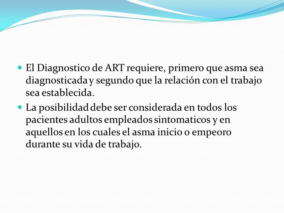 El Diagnostico de ART requiere, primero que asma sea diagnosticada y segundo que la relación con el trabajo sea establecida. La posibilidad debe ser c
