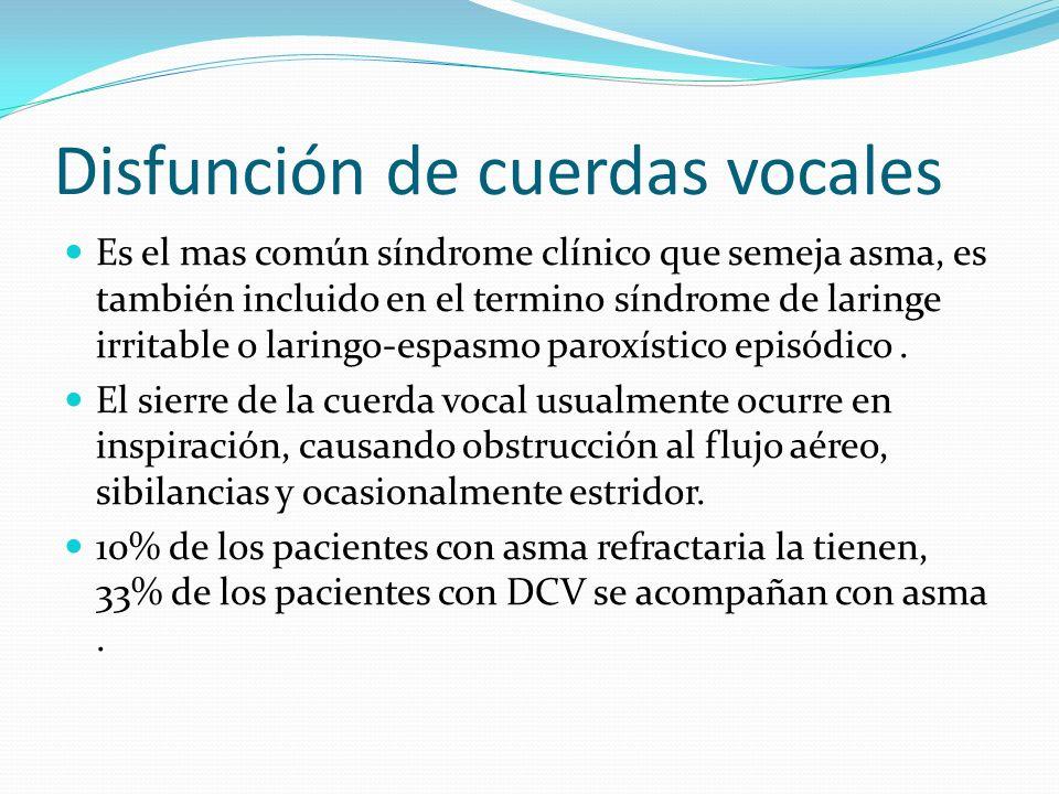 Disfunción de cuerdas vocales Es el mas común síndrome clínico que semeja asma, es también incluido en el termino síndrome de laringe irritable o lari