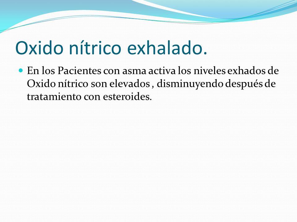 Oxido nítrico exhalado. En los Pacientes con asma activa los niveles exhados de Oxido nítrico son elevados, disminuyendo después de tratamiento con es