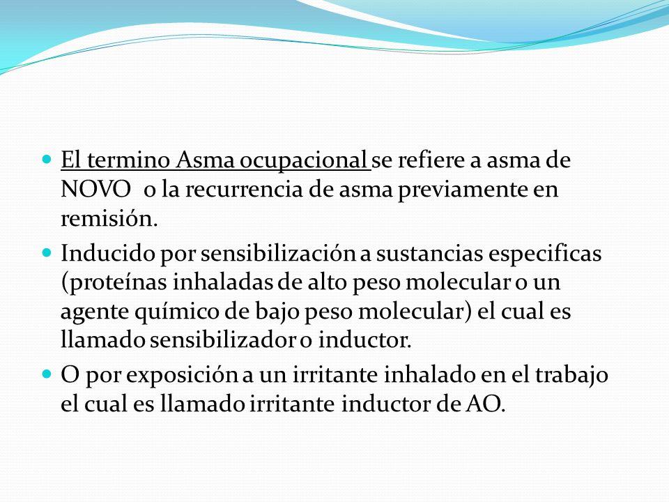 Materiales irritantes a grandes concentraciones pueden llegar a producir hiperrespuesta de la vía aérea e inflamación, pueden causar lo que se ha llamado síndrome de disfunción reactiva de la vía área Asma exacerbada por el trabajo y AO no son mutuamente excluyentes y pueden coexistir en el mismo trabajador.