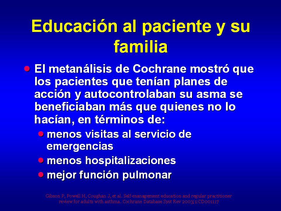 Programas de educación simplificados o programas de información Se llama programa simplificado un transferí de información dispensada individualmente o en grupo a personas asmáticas, por enfermeras, farmacéuticos, educadores de salud, sobre la fisiopatología del asma, el control de los factores desencadenantes así como los efectos secundarios de los medicamentos El efecto de tales programas (pacientes mayores de 16 años) ha sido evaluado por la Cochrane Library (11 estudios randomizados) El programa podía ser interactivo, con retro-información (sesión educativa individual o en grupo) o no interactivo sin retro- información, por intermediario de soportes (escrito, audio, vídeo).