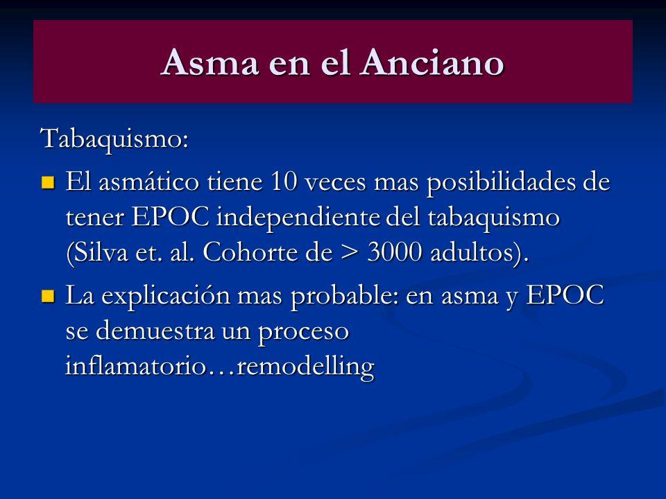 Asma en el Anciano Tabaquismo: El asmático tiene 10 veces mas posibilidades de tener EPOC independiente del tabaquismo (Silva et. al. Cohorte de > 300