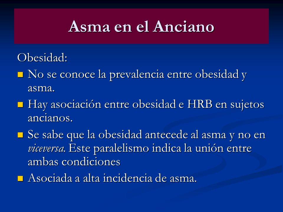 Asma en el Anciano Obesidad: No se conoce la prevalencia entre obesidad y asma. No se conoce la prevalencia entre obesidad y asma. Hay asociación entr