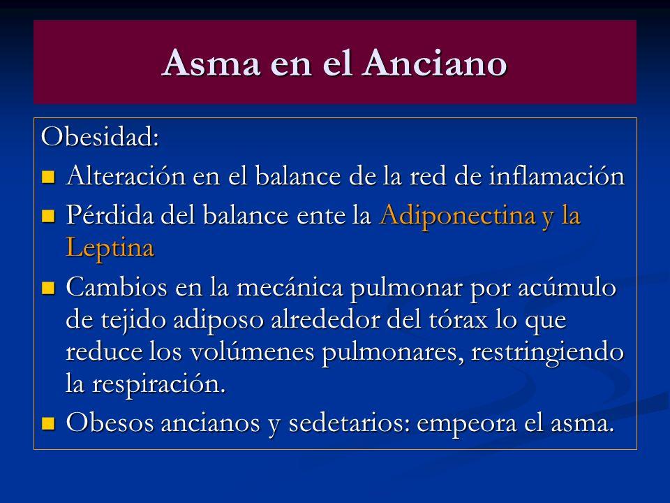 Asma en el Anciano Obesidad: Alteración en el balance de la red de inflamación Alteración en el balance de la red de inflamación Pérdida del balance e