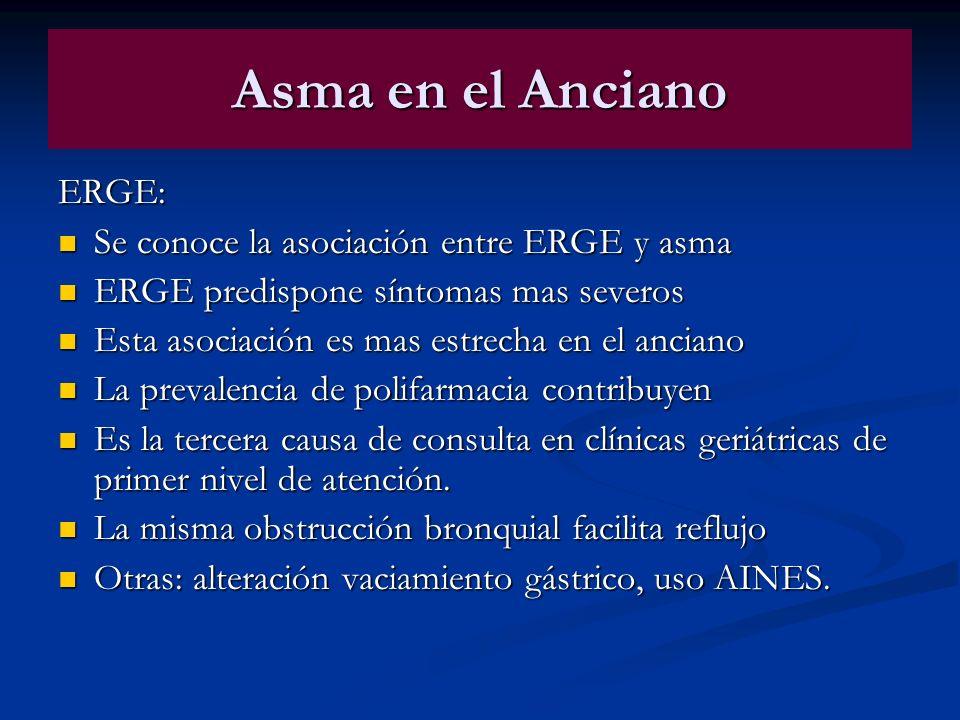 Asma en el Anciano ERGE: Se conoce la asociación entre ERGE y asma Se conoce la asociación entre ERGE y asma ERGE predispone síntomas mas severos ERGE