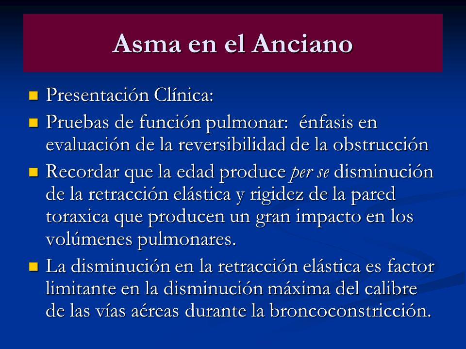Asma en el Anciano Presentación Clínica: Presentación Clínica: Pruebas de función pulmonar: énfasis en evaluación de la reversibilidad de la obstrucci