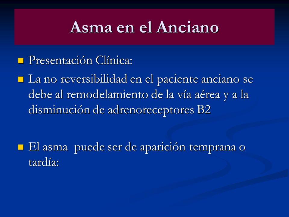 Asma en el Anciano Presentación Clínica: Presentación Clínica: La no reversibilidad en el paciente anciano se debe al remodelamiento de la vía aérea y