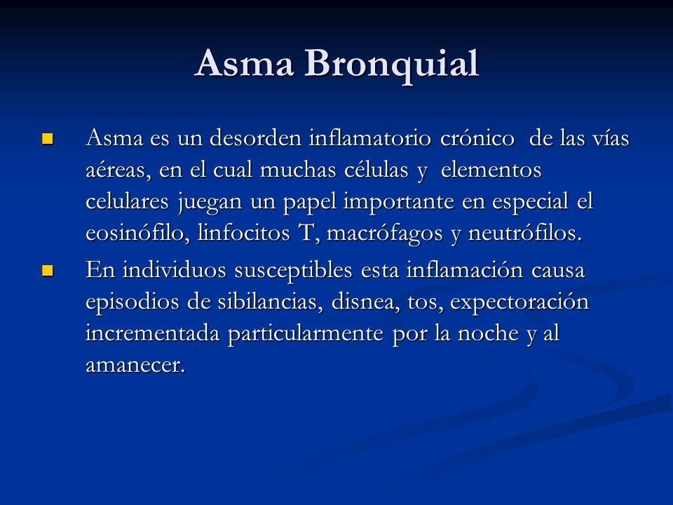Asma Bronquial Asma es un desorden inflamatorio crónico de las vías aéreas, en el cual muchas células y elementos celulares juegan un papel importante
