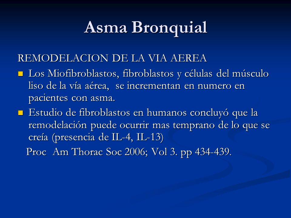 Asma Bronquial REMODELACION DE LA VIA AEREA Los Miofibroblastos, fibroblastos y células del músculo liso de la vía aérea, se incrementan en numero en