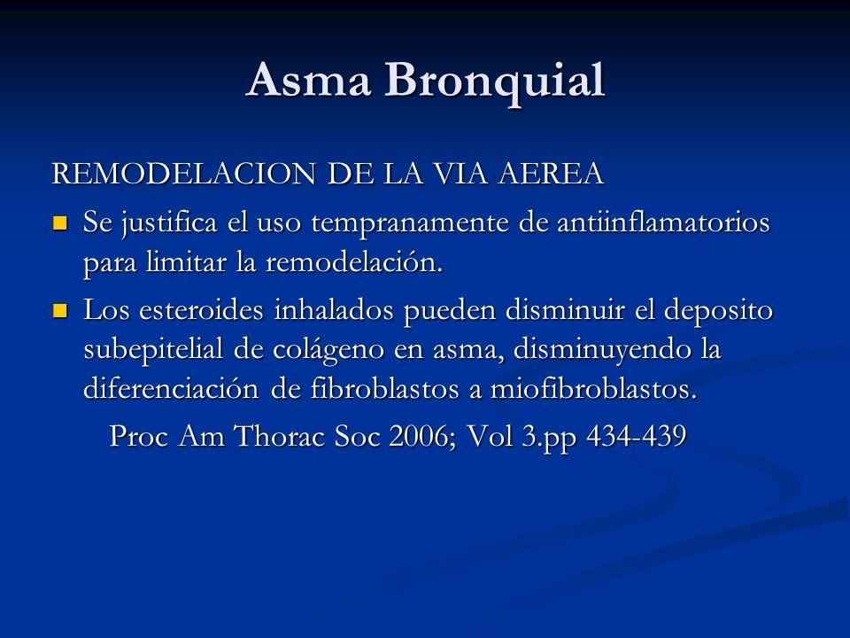 Asma Bronquial REMODELACION DE LA VIA AEREA Se justifica el uso tempranamente de antiinflamatorios para limitar la remodelación. Se justifica el uso t