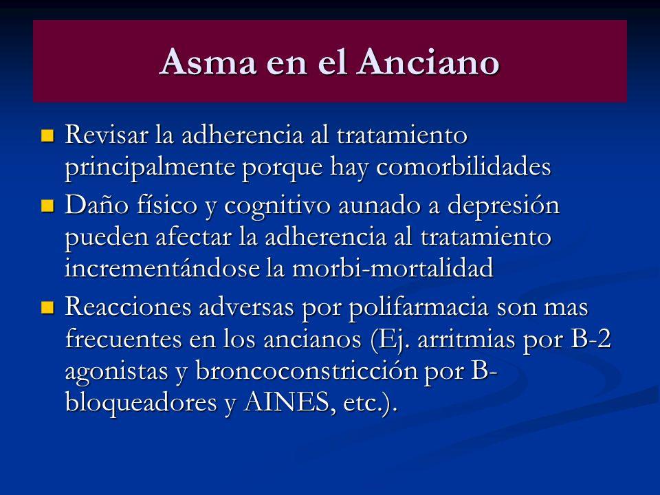 Asma en el Anciano Revisar la adherencia al tratamiento principalmente porque hay comorbilidades Revisar la adherencia al tratamiento principalmente p