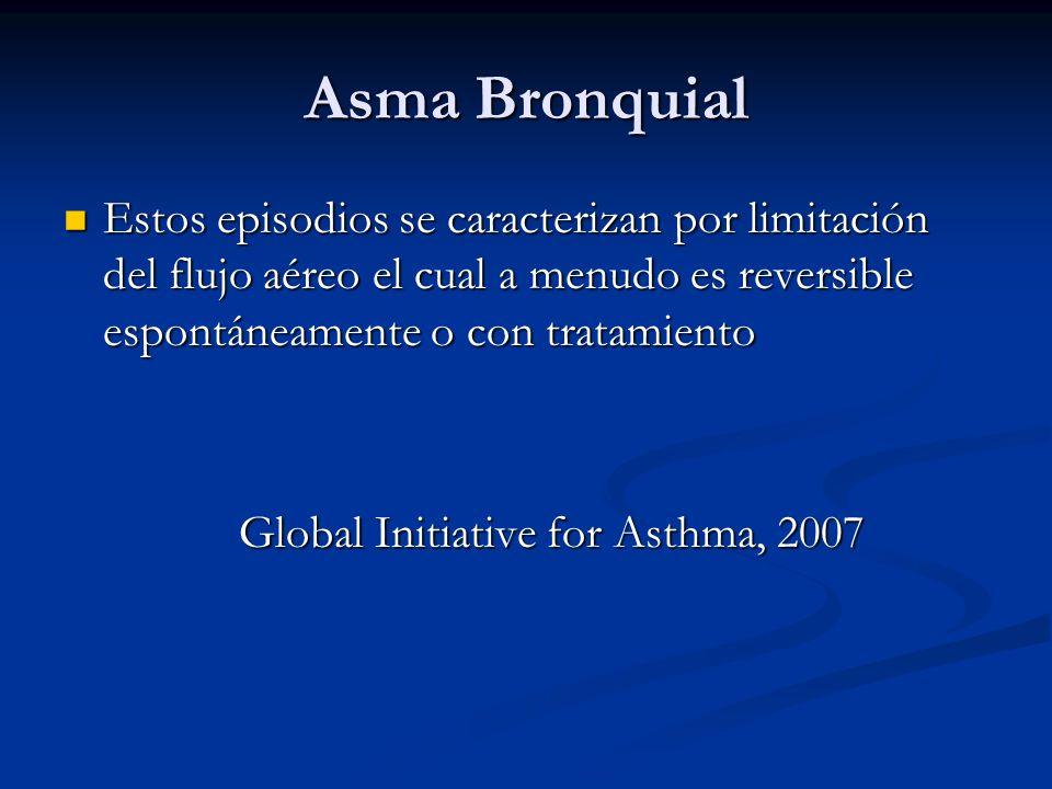 Asma Bronquial Estos episodios se caracterizan por limitación del flujo aéreo el cual a menudo es reversible espontáneamente o con tratamiento Estos e