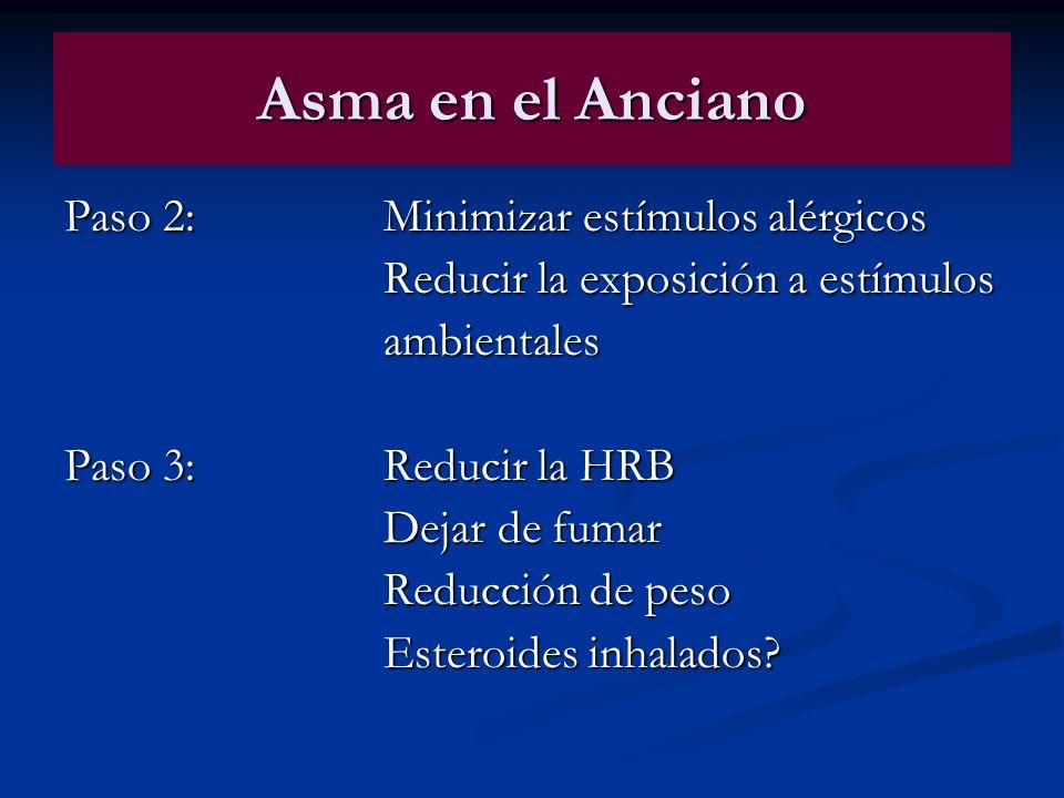 Asma en el Anciano Paso 2:Minimizar estímulos alérgicos Reducir la exposición a estímulos ambientales Paso 3:Reducir la HRB Dejar de fumar Reducción d