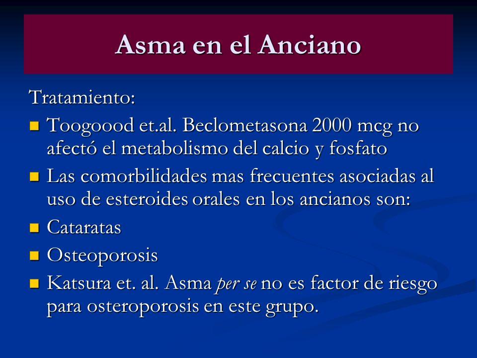 Asma en el Anciano Tratamiento: Toogoood et.al. Beclometasona 2000 mcg no afectó el metabolismo del calcio y fosfato Toogoood et.al. Beclometasona 200