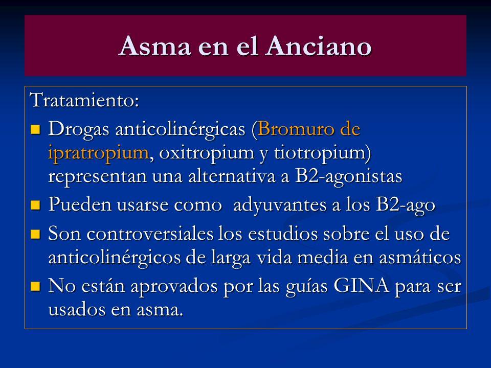 Asma en el Anciano Tratamiento: Drogas anticolinérgicas (Bromuro de ipratropium, oxitropium y tiotropium) representan una alternativa a B2-agonistas D