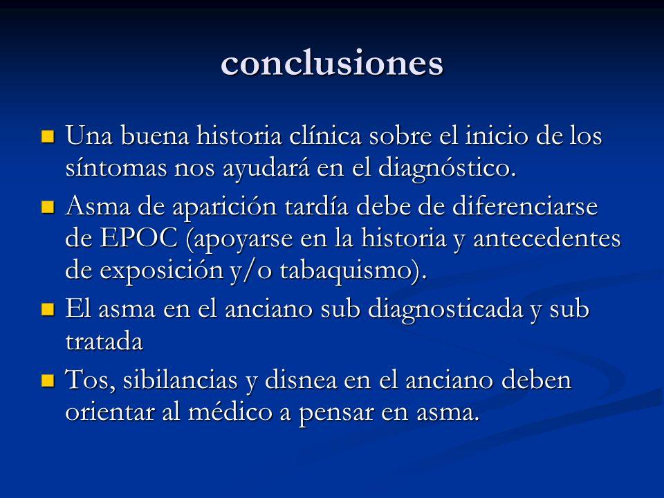 conclusiones Una buena historia clínica sobre el inicio de los síntomas nos ayudará en el diagnóstico. Una buena historia clínica sobre el inicio de l