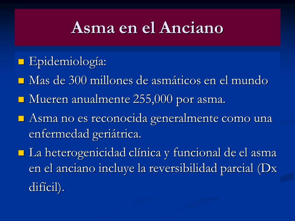Asma en el Anciano Epidemiología: Epidemiología: Mas de 300 millones de asmáticos en el mundo Mas de 300 millones de asmáticos en el mundo Mueren anua