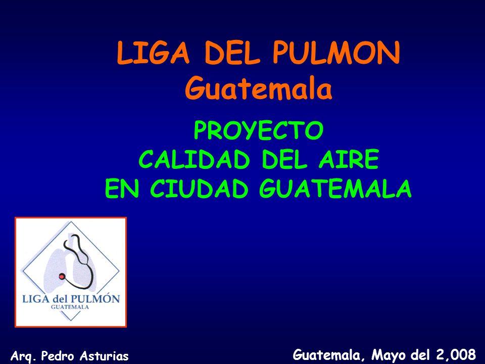 LIGA DEL PULMON Guatemala PROYECTO CALIDAD DEL AIRE EN CIUDAD GUATEMALA Guatemala, Mayo del 2,008 Arq.