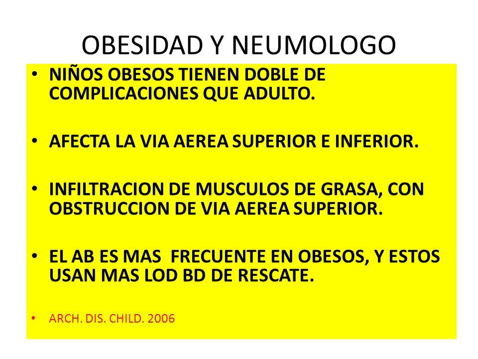 OBESIDAD Y NEUMOLOGO NIÑOS OBESOS TIENEN DOBLE DE COMPLICACIONES QUE ADULTO. AFECTA LA VIA AEREA SUPERIOR E INFERIOR. INFILTRACION DE MUSCULOS DE GRAS