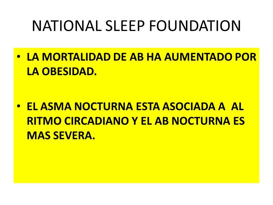 NATIONAL SLEEP FOUNDATION LA MORTALIDAD DE AB HA AUMENTADO POR LA OBESIDAD. EL ASMA NOCTURNA ESTA ASOCIADA A AL RITMO CIRCADIANO Y EL AB NOCTURNA ES M