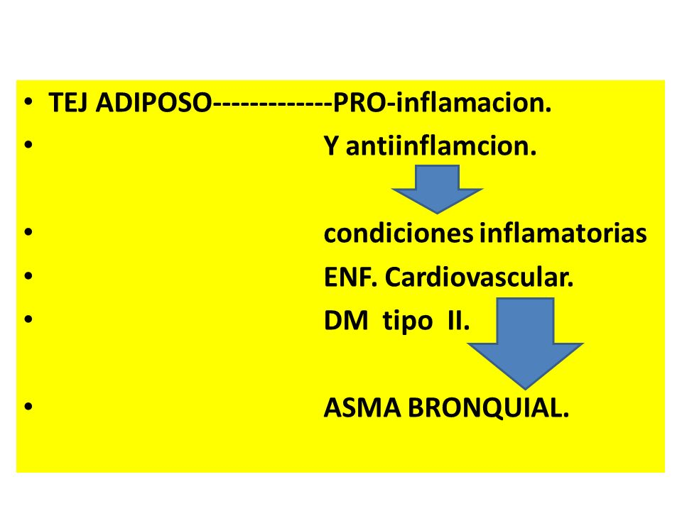 TEJ ADIPOSO-------------PRO-inflamacion. Y antiinflamcion. condiciones inflamatorias ENF. Cardiovascular. DM tipo II. ASMA BRONQUIAL.