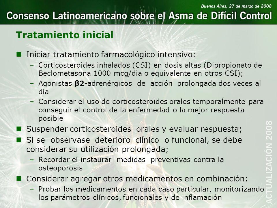 Tratamiento inicial nIniciar tratamiento farmacológico intensivo: –Corticosteroides inhalados (CSI) en dosis altas (Dipropionato de Beclometasona 1000
