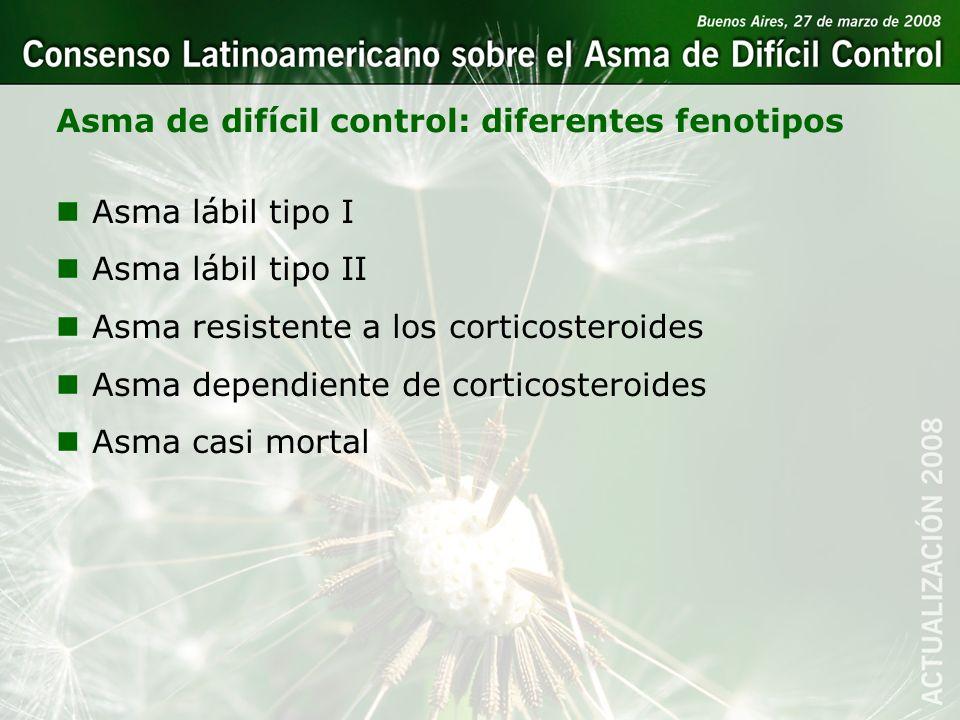 Asma de difícil control: diferentes fenotipos nAsma lábil tipo I nAsma lábil tipo II nAsma resistente a los corticosteroides nAsma dependiente de cort