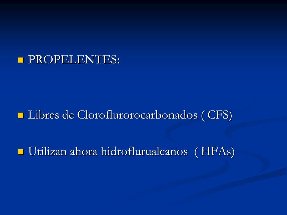 PROPELENTES: PROPELENTES: Libres de Cloroflurorocarbonados ( CFS) Libres de Cloroflurorocarbonados ( CFS) Utilizan ahora hidroflurualcanos ( HFAs) Uti