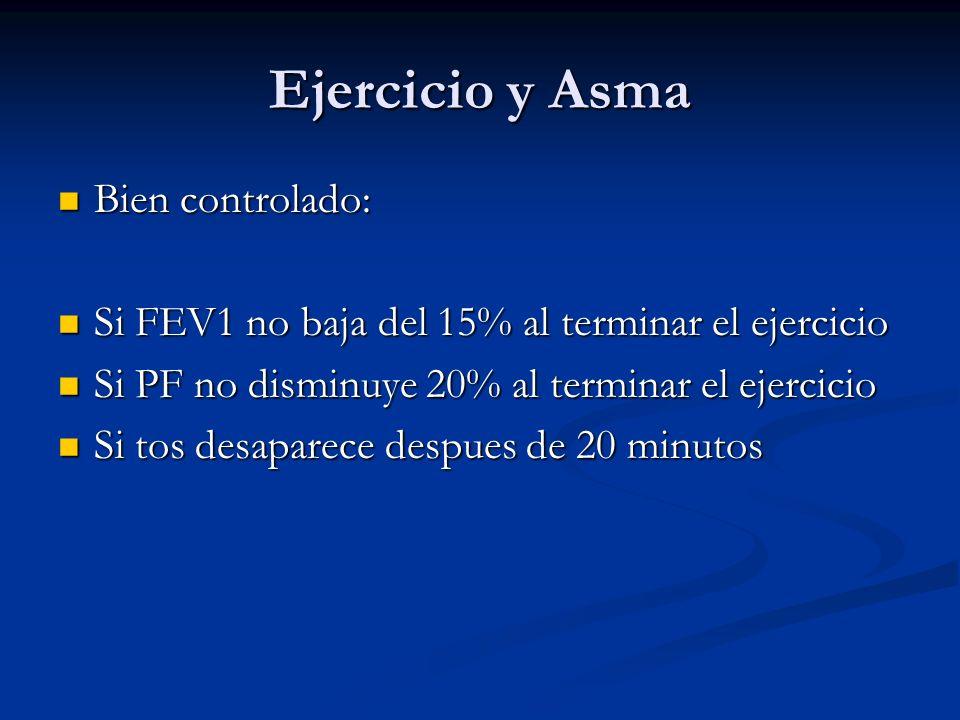 Ejercicio y Asma Bien controlado: Bien controlado: Si FEV1 no baja del 15% al terminar el ejercicio Si FEV1 no baja del 15% al terminar el ejercicio S