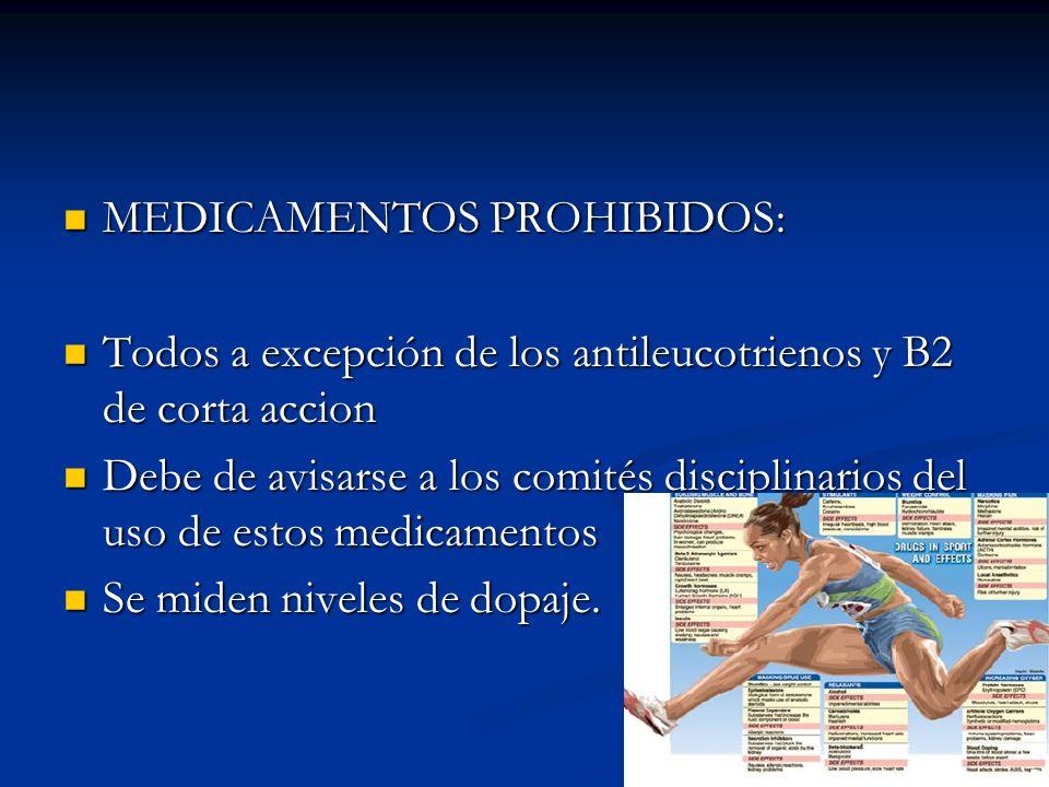 MEDICAMENTOS PROHIBIDOS: MEDICAMENTOS PROHIBIDOS: Todos a excepción de los antileucotrienos y B2 de corta accion Todos a excepción de los antileucotri