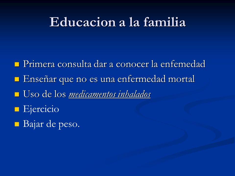 Educacion a la familia Primera consulta dar a conocer la enfemedad Primera consulta dar a conocer la enfemedad Enseñar que no es una enfermedad mortal