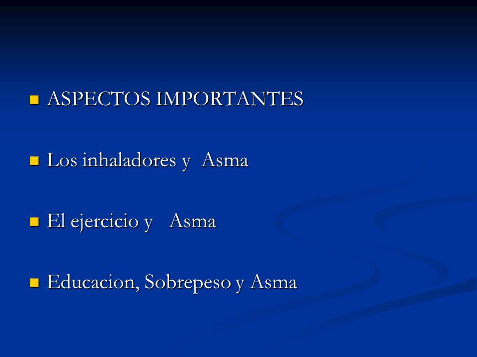 ASPECTOS IMPORTANTES ASPECTOS IMPORTANTES Los inhaladores y Asma Los inhaladores y Asma El ejercicio y Asma El ejercicio y Asma Educacion, Sobrepeso y