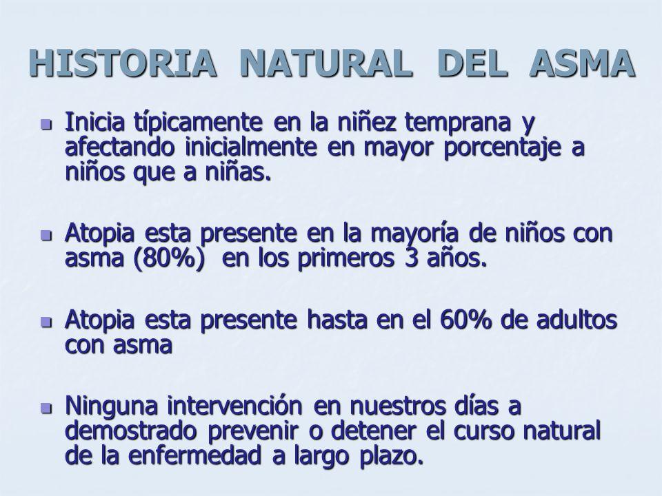 HISTORIA NATURAL DEL ASMA Inicia típicamente en la niñez temprana y afectando inicialmente en mayor porcentaje a niños que a niñas. Inicia típicamente