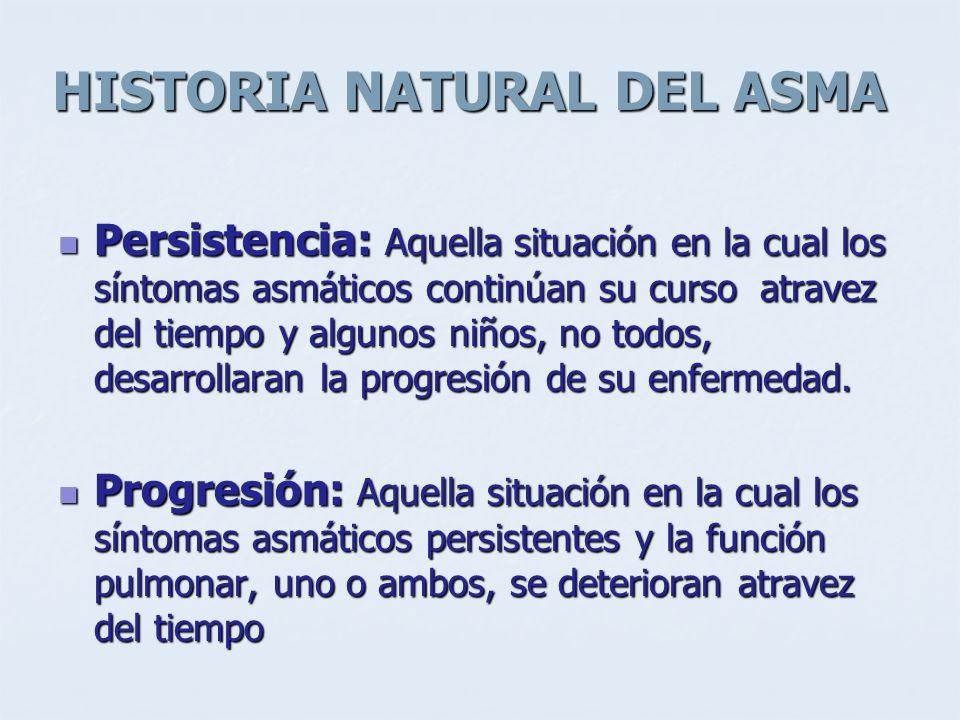 HISTORIA NATURAL DEL ASMA Persistencia: Aquella situación en la cual los síntomas asmáticos continúan su curso atravez del tiempo y algunos niños, no