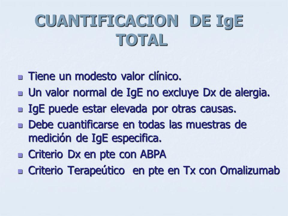 CUANTIFICACION DE IgE TOTAL Tiene un modesto valor clínico. Tiene un modesto valor clínico. Un valor normal de IgE no excluye Dx de alergia. Un valor
